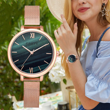 цены Luxury Brand Rose Gold Ladies Dress Watch Fashion Women's Gradient Marble Dial Wrist Watches Steel Mesh Female Quartz Clock Gift