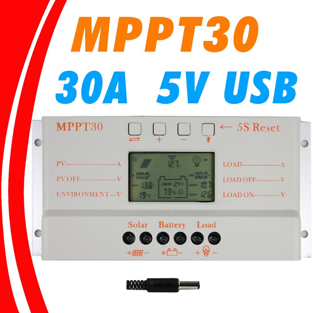 MPPT 30A LCD controlador de carga Solar 12 V 24 V auto pantalla LCD interruptor MPPT30 regulador de carga Solar MPPT 30 regulador del cargador