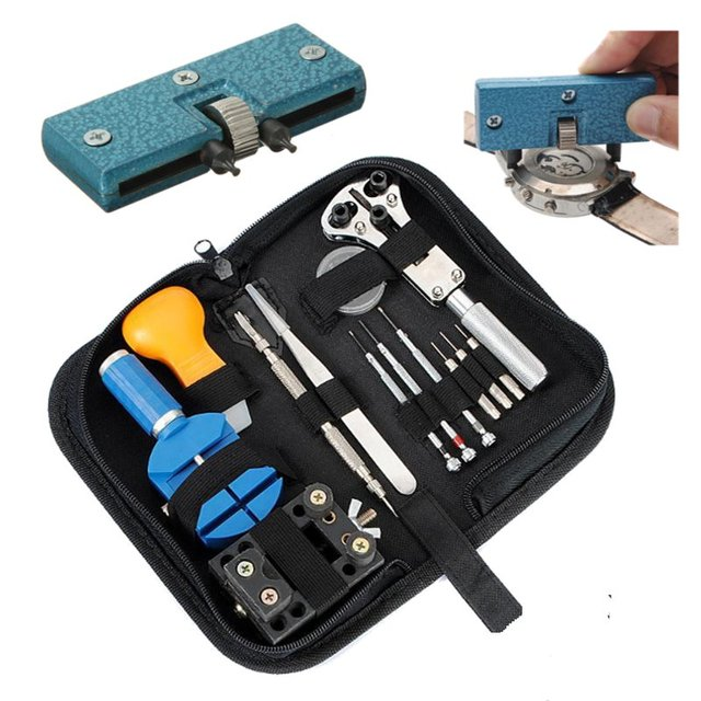 High Quality 14Pcs Watch Repair Tool Kit Strap Link Pin Remover&Blue Watch Case Cover Remover Brand New
