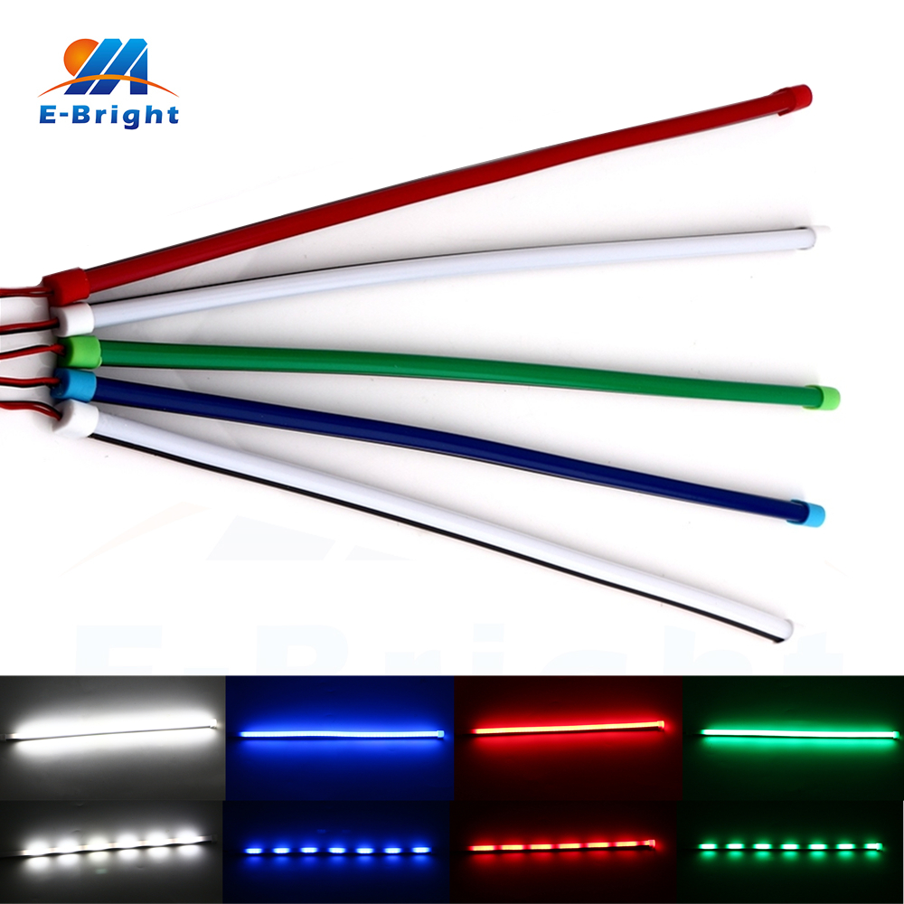 4X 30cm Lamp Strip Dynamic Streamer universal for Daytime Runinng Light DRL White Blue Red Green Strobe RGB 300LM 8000K 12V DC image