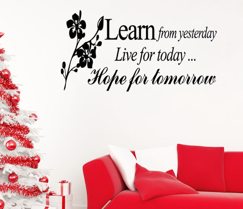Fashion Design Learn From Yesterday Family Love Art Wall Quotes Wall  Stickers Wall Decals Removable Home Part 35