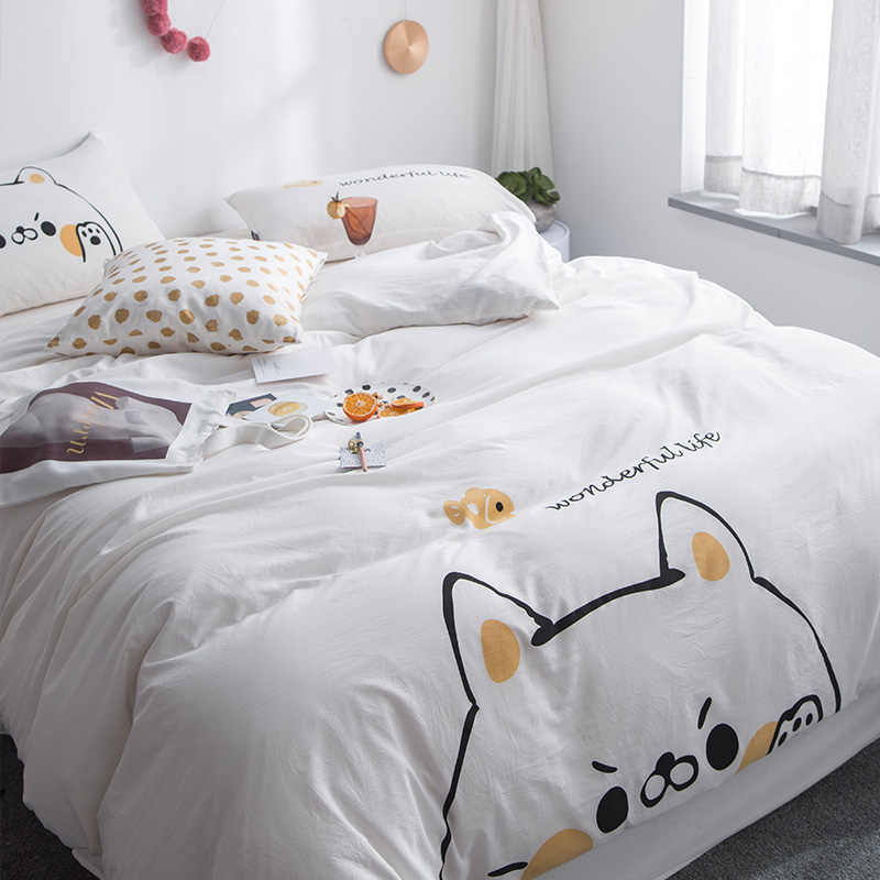 ParkShin Lovely Cartoon Child Adult Bedding Set White Doggy Bedspread Duvet Cover Bed Linen Cotton Comforter Cover Bedclothes