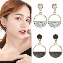Acrylic Marble Ladies Drop Earrings Geometric Circular Women Fashion Jewelry Gift