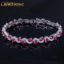 CWWZircons роскошный серебряный цвет розовый Красный Кристалл Камень женские браслеты с кубическим цирконием ювелирные изделия Рождественский подарок CB156