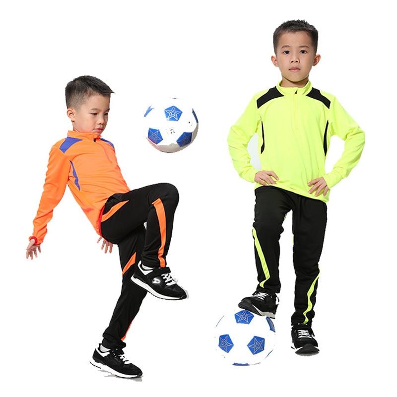 2019 Boys Long Sleeve Football Jersey Set Kids Training Tracksuit School Football Uniforms Soccer Black Red Blue Orange Green стоимость