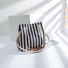 Luxury Brand Designer Women Shoulder Bags Eco Striped Thicken Canvas Handbag Female Big Tote Bag Ladies Shopping Purses sac