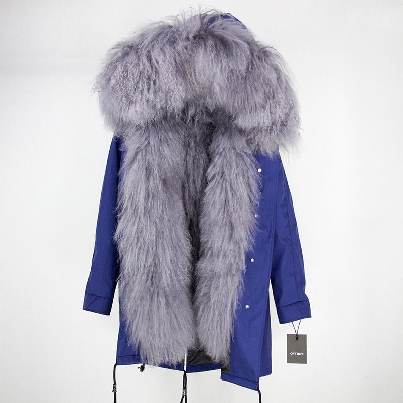 OFTBUY 2019 Long Parka Winter Jacket Women Real Fur Coat Natural Mongolia Sheep Fur Thick Warm Parkas Hood Plus Size Brand New