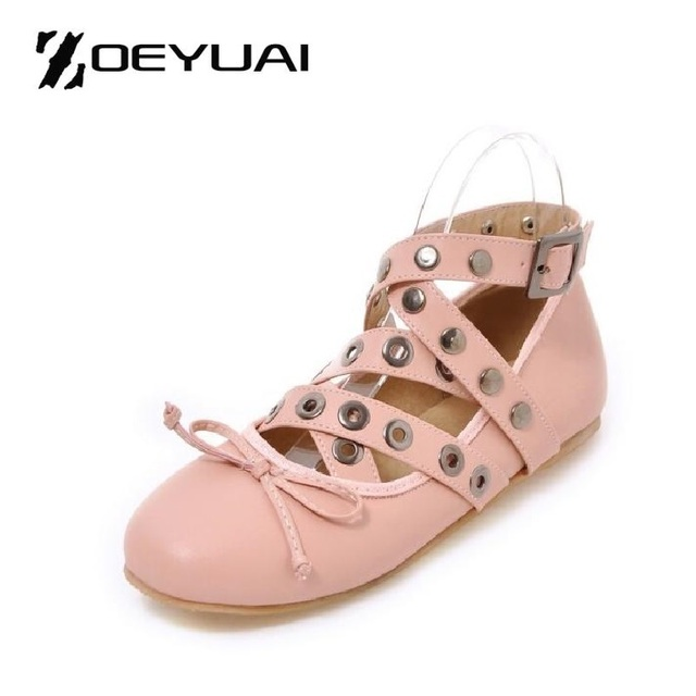Cross Straps Rivets Decoration Brand Shoes Flats Women Spring Autumn Fashion Womens Flats Boat Shoes Sexy Ladies Plus Size 16