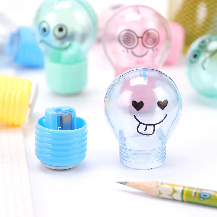 1PC Creative הנורה עיפרון מחדד פלסטיק עיפרון מחדד לילדים מתנות מכתבים בית ספר ציוד משרדי