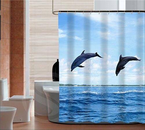 Warm Tour De Mooie Dolfijnen Mode Douchegordijn Polyester Gordijn