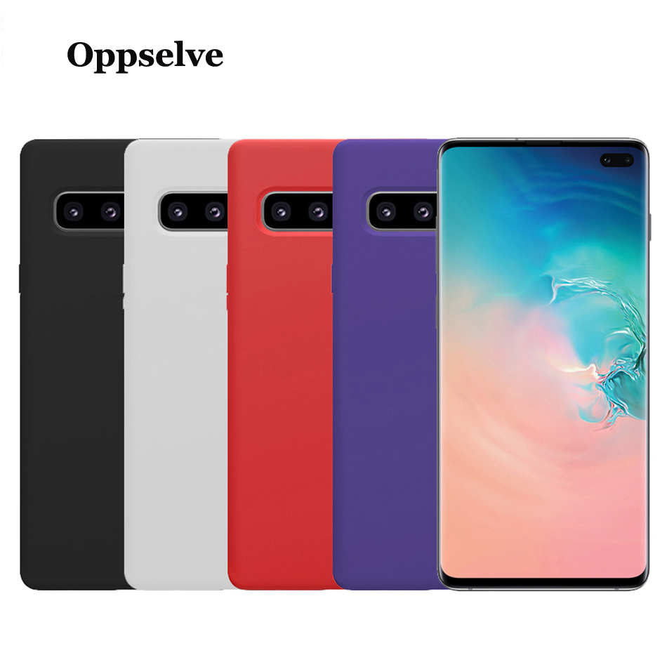Oppselve Luxury Case For Samsung Galaxy S10 S9 S8 Plus + Liquid Silicone Back Protective Cover Note 9 8 Capinha