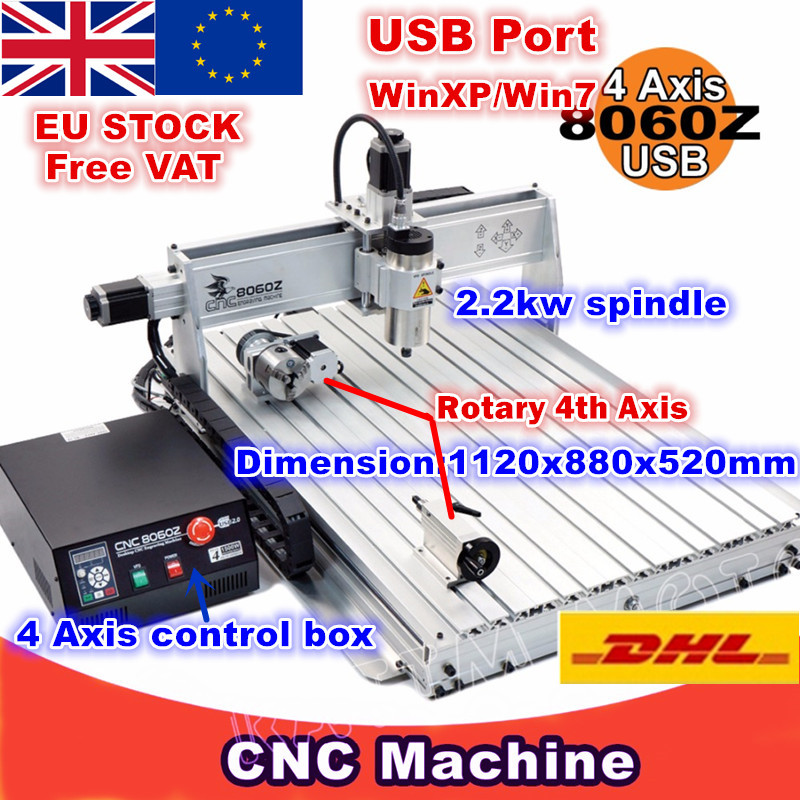 [EU Delivery/Free VAT]  8060 4Axis 8060Z-2200W USB Mach3 2.2KW CNC Router Engraver Engraving Drilling And Milling Machine 220VAC