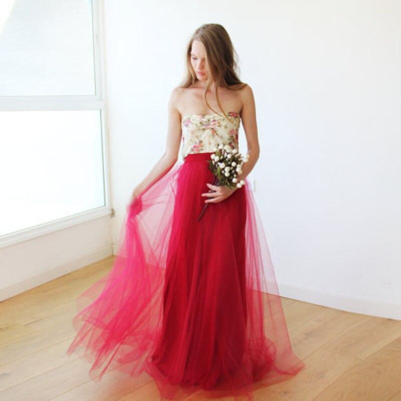 Maxi Bordeaux Tulle Skirt Long Floor Length Tutu Red Skirts Womens A Line Fashion Long Skirt Saias Na Altura Do Joelho