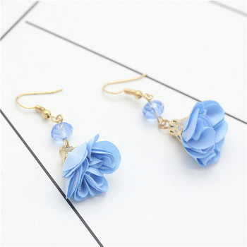 New Big Brand Style Crystal Earrings For Women National Wild Fresh Beach Water Drops Cute Color Cloth Flower Pendant Earrings золотые серьги по уху