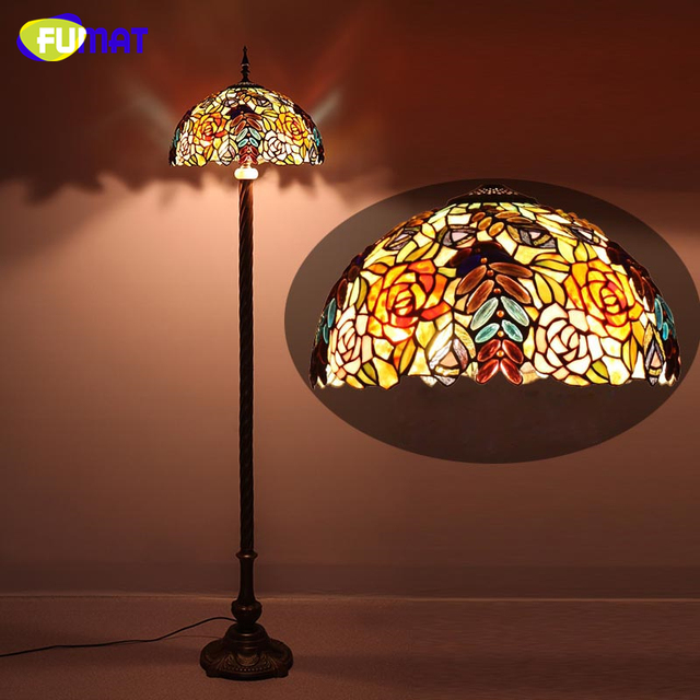 Fumat european luxury tiffany floor lamp stained glass rose shade fumat european luxury tiffany floor lamp stained glass rose shade stand lights for living room vintage mozeypictures Choice Image
