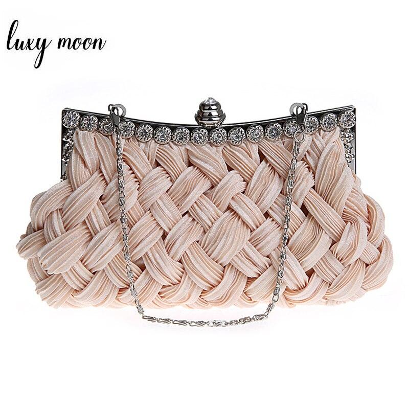 vznešená spojka - Hot spring Evening bag weave clutch bags woman handbag Silk Elegant Dinner Ladies Bag Evening Bag High-grade Handbag  EB003