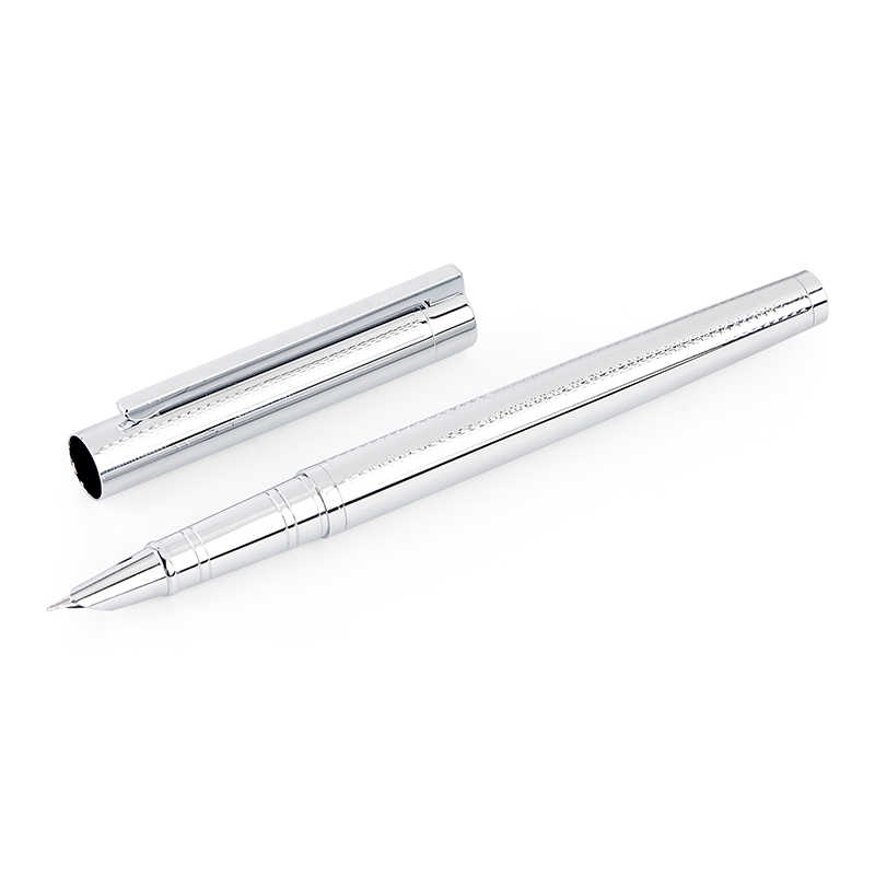 Metal Silver Financial Tip Fountain Pen 0.38mm Shine Platinum Steel School Office Business Writing Ink Pens Gift Stationery