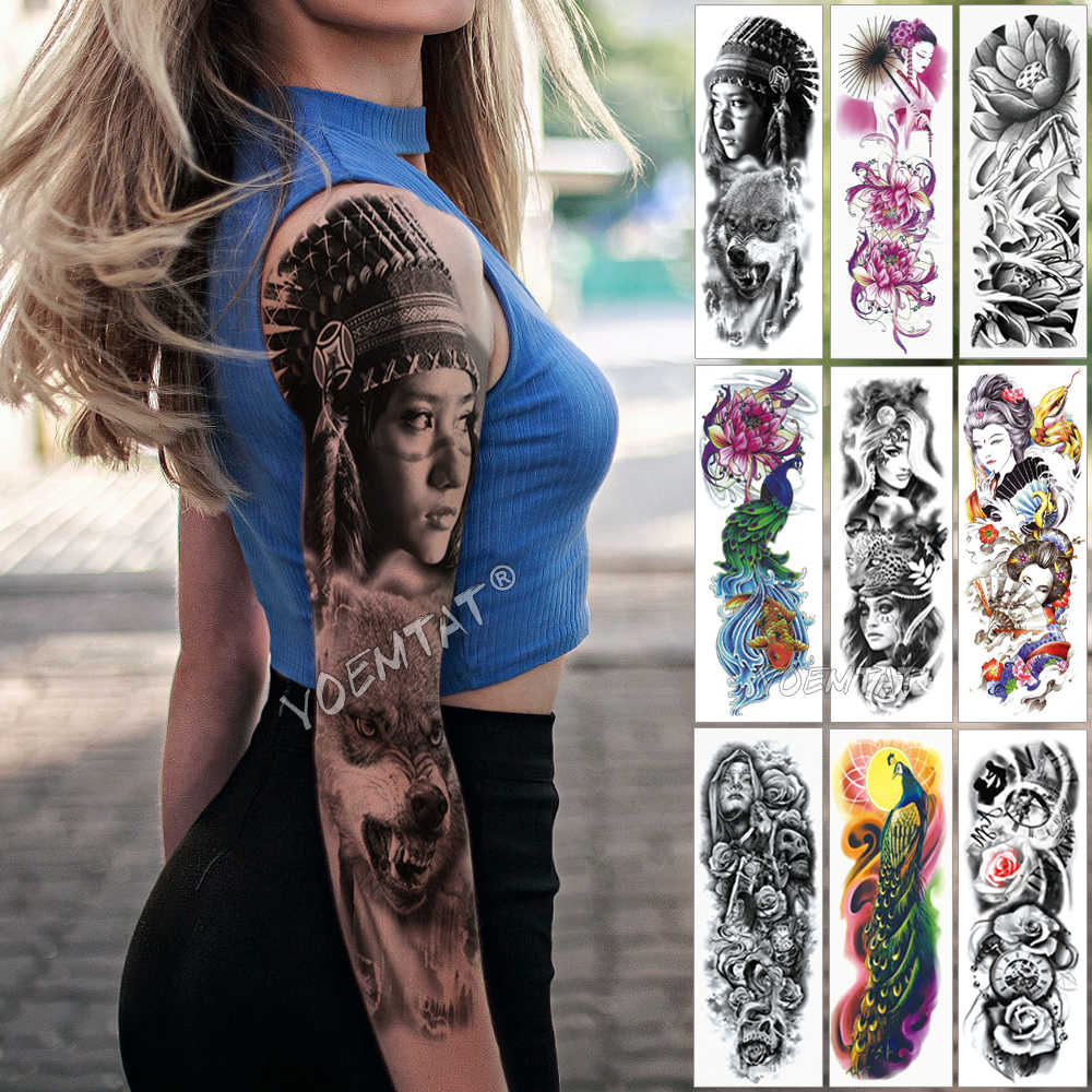 Large Arm Sleeve Tattoo Indian Wild Girl Waterproof Temporary