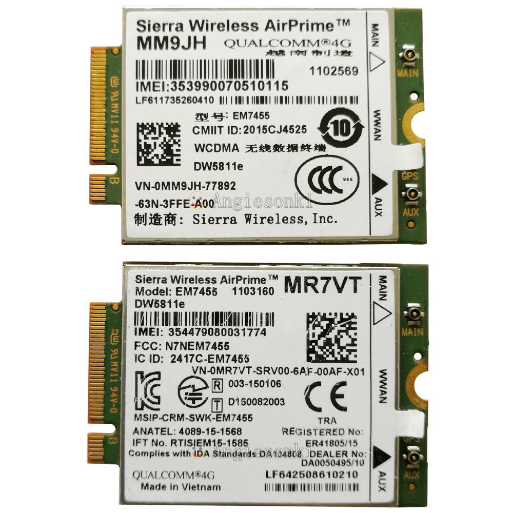 DW5811E 1 DPXG MM9JH MR7VT EM7455 PCIe M.2 300 Mbps LTE 4G Carte WWAN Module pour Dell E7270 E7470 E7370