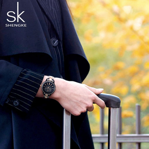 Image 2 - SHENGKE עלה זהב שעון נשים קריסטל קישוט יוקרה קוורץ שעון נשי שעון יד ילדה שעון גבירותיי Relogio Feminino
