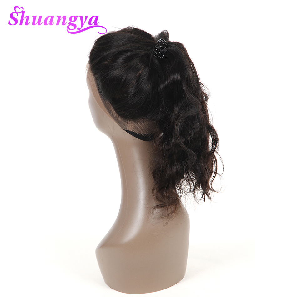 Shuangya Remy Pre Plucked 360 Lace Frontal Closure Brazilian Body Wave Full Lace Band Frontal With