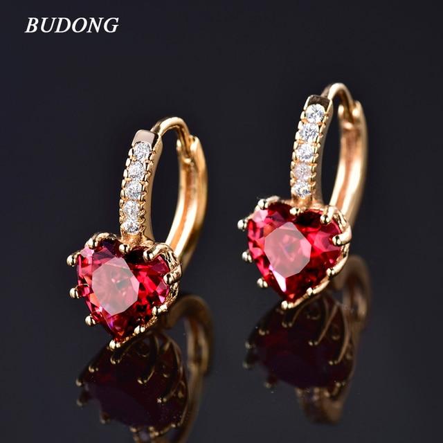 BUDONG 2016 Fashion CZ Gold-Color Hoop Earrings Heart Love Cubic Zirconia Crystal Earring for Women Wedding Jewelry E004