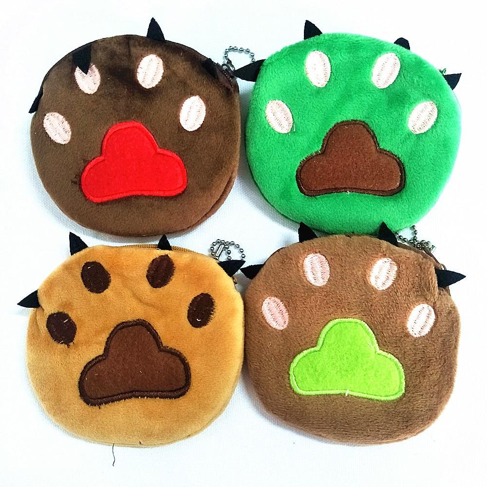 M054 Cartoon Image Cute Bears Footprints Plush Wallet Casual Creative Coin Bag Purse Cloth Girl Women Student Gift Wholesale