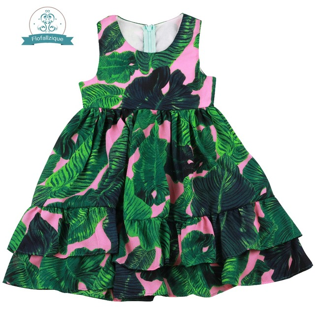 d214b12ca705d US $13.99 |Flofallzique Round Neck Sleeveless Single Layer Lotus Leaf Hem  Kids Clothes Beach Casual Outdoor Toddler Party girl dress 1 6Y-in Dresses  ...