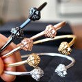 2016 New Brand Lion Bangles Bracelets,24K Gold Plated Open Men Bangle Bracelets Fashion AtolyestoneJewelry,Best Christmas Gift