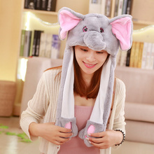 1pc 60cm funny Animals Rabbit Elephant hat with ears moving plush toy stuffed soft creative hat doll children cute birthday gift