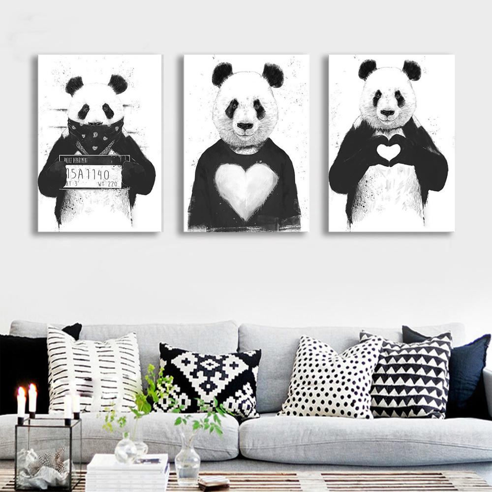Simple Black and White Rectangles Oil Painting Giant Panda Series ...