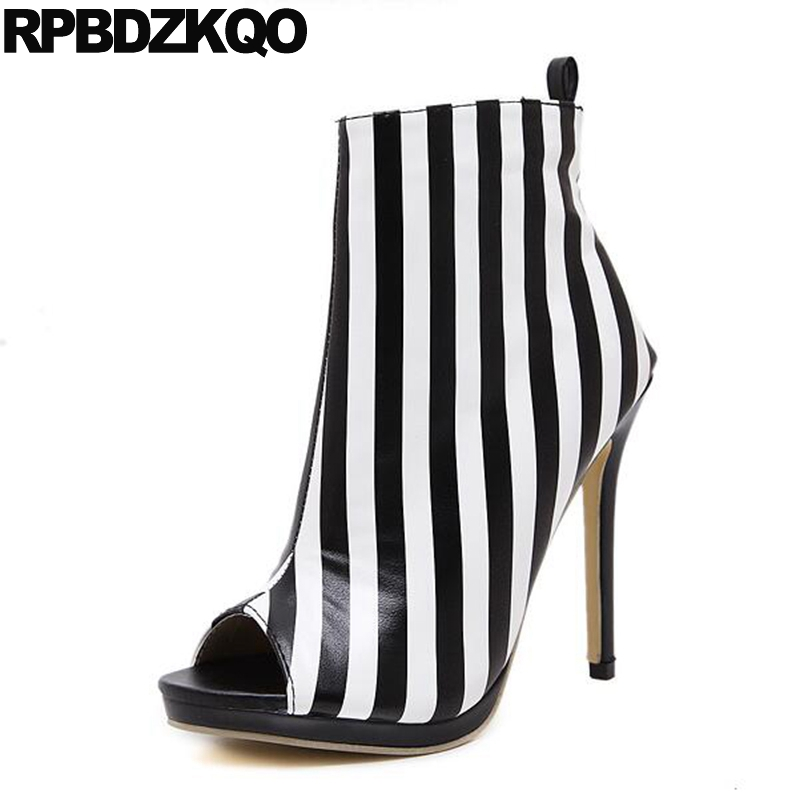 Lace Up Sexy Designer Shoe Women Luxury Summer Extreme Peep Toe Boot Ankle High Heel Pearl Black And White Booties Zebra Striped zmvkgsoa sexy summer high waisted denim shorts women black white ripped short jeans s 3xl tassel lace up fray clothing y1178
