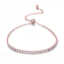 FYM Newest Elegant Luxury Womens Cuff Bracelet with AAA Zircon Crystal Fashion Chain Bracelets Femme Jewelry for Women Bridal(China)