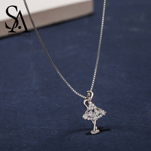 SA SILVERAGE Real 925 Sterling Silver Ballerina Necklaces/Pendant AAA Zirconia Gril Pendant Necklace Choker Necklaces