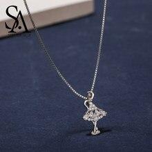 f56354b77180 SA SILVERAGE Real 925 plata esterlina collares bailarina colgante AAA  Zirconia Gril 925 colgante de plata collar gargantilla col.