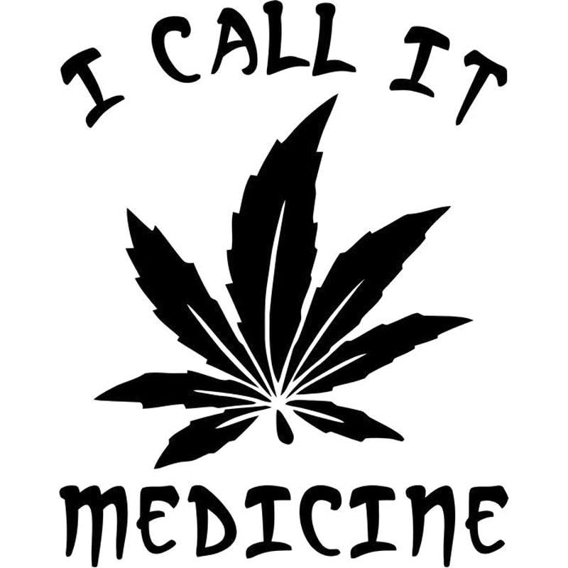 13.1x16.6см травяная виниловая наклейка, я зову это лекарство, авто-стиль, наклейка для автомобиля черный/серебристый S8-0465
