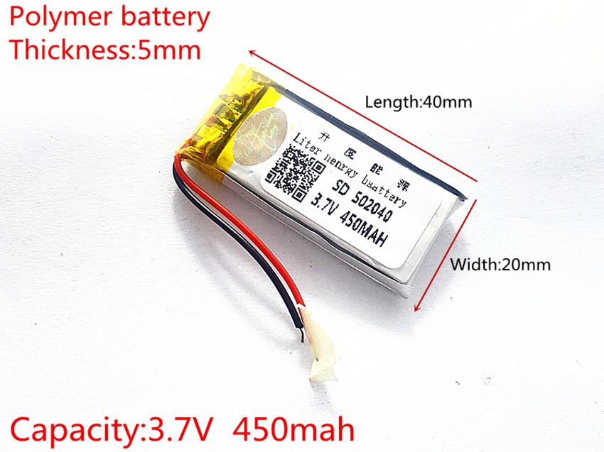 3.7V 450mAh 502040 Lithium Polymer LiPo Rechargeable Battery ion cells For Mp3 Mp4 Mp5 DIY PAD DVD E-book bluetooth headset 502828 3 7v 450mah li ion rechargeable lipo 3 7v mp3 player with aaa battery