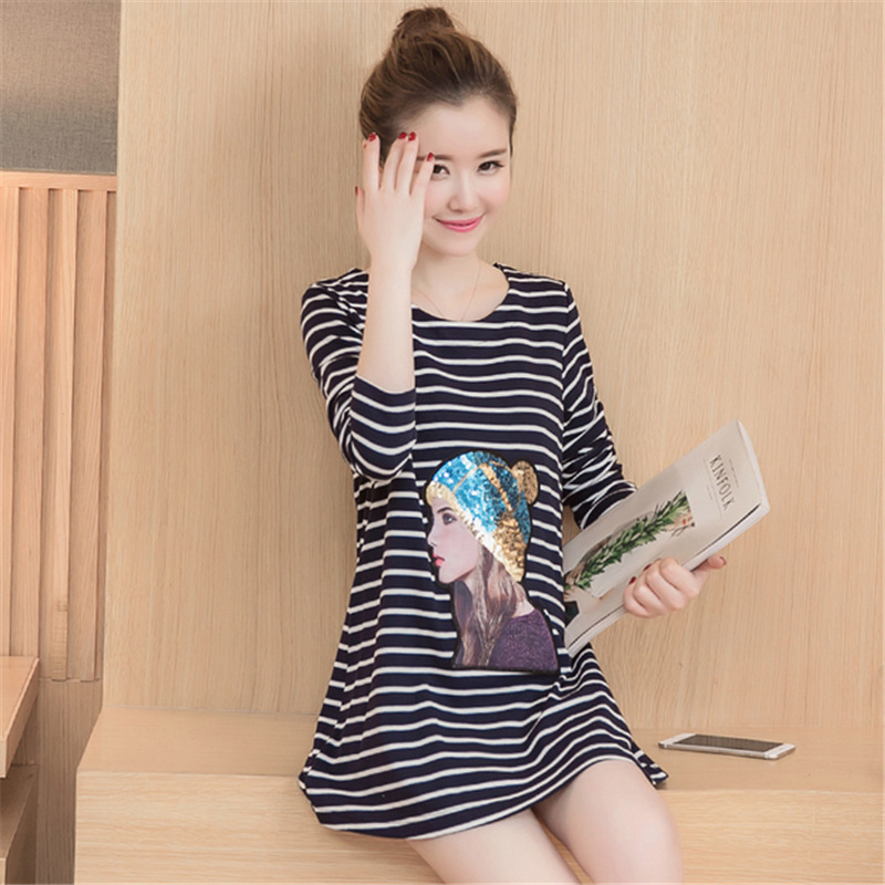 Korean 2018 Spring Pregnant Women Fashion Casual O Neck Long Sleeve 3D Cartoon Printing Long T Shirt Tops Maternity Cotton Shirt women s long sleeve jewel neck solid color t shirt