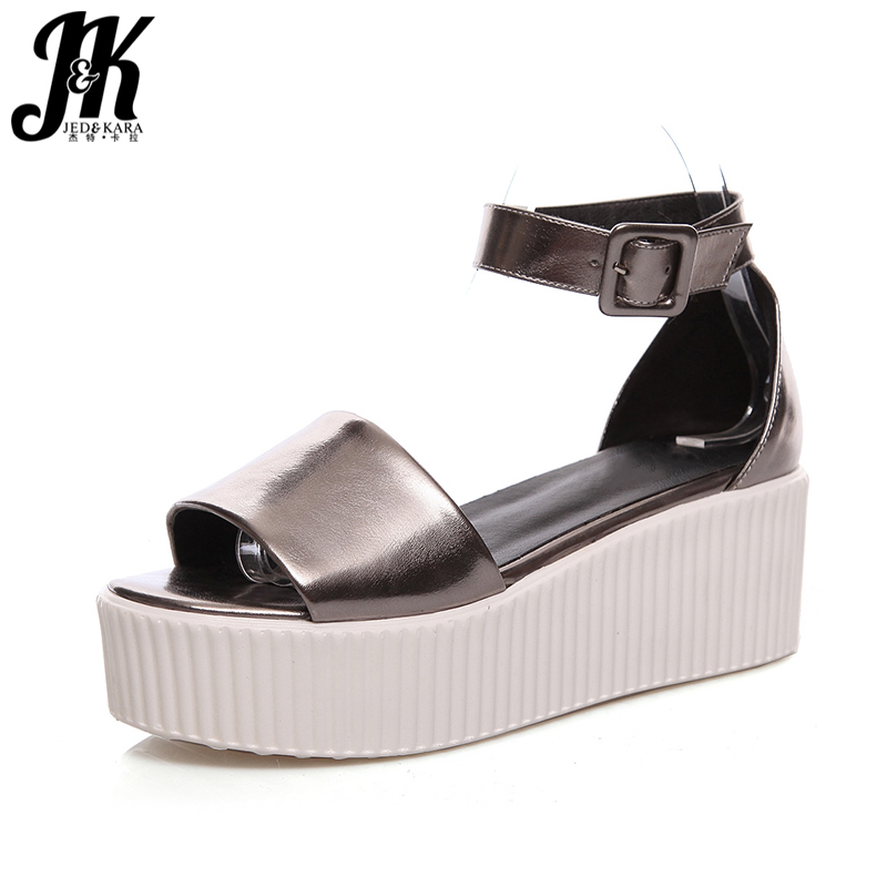 J&K 2017 New Arrive Thick Sole Platform Sandals Sexy Peep toe Summer Shoes Woman Wedges Ankle Strap Women Sandals Casual Shoes phyanic 2017 gladiator sandals gold silver shoes woman summer platform wedges glitters creepers casual women shoes phy3323