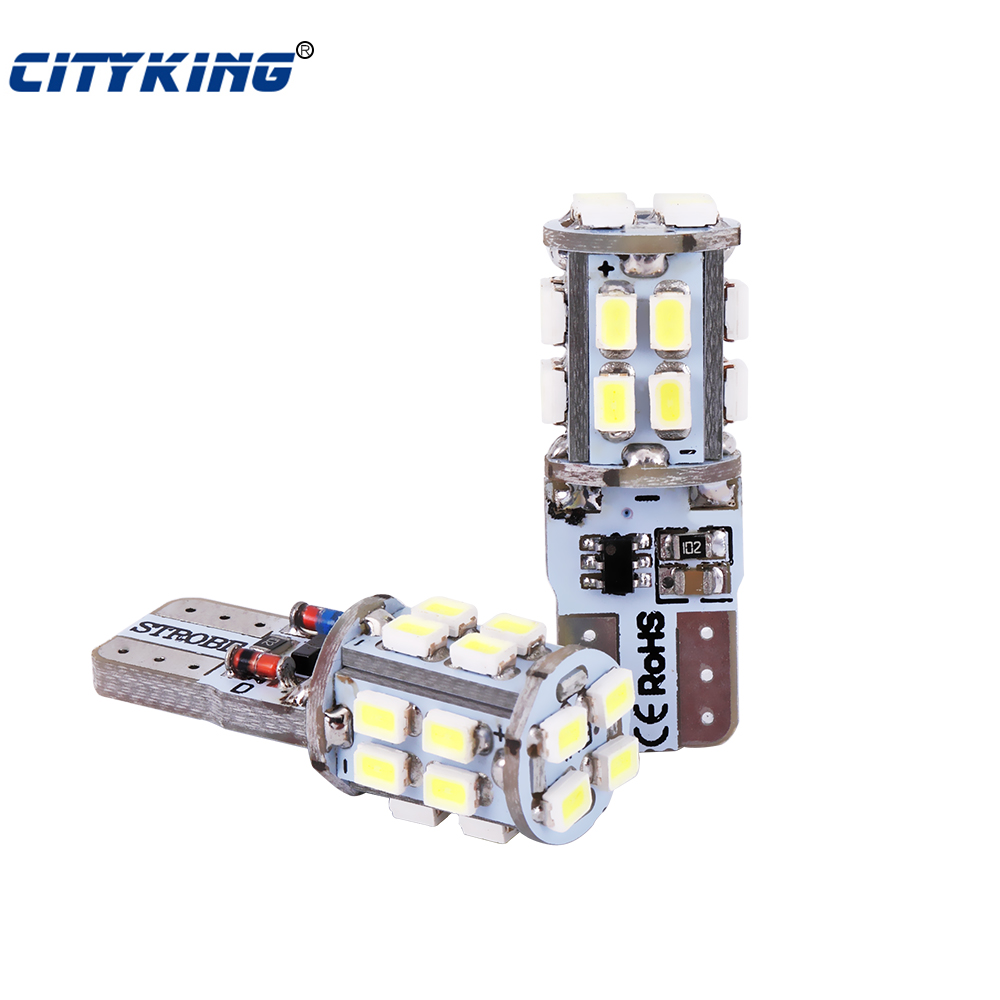 <font><b>100x</b></font> <font><b>T10</b></font> led strobe Flash W5W led 194 <font><b>t10</b></font> 20SMD 1206 3020 LED 20led Car light with Two modes of Operation car strobe light white image