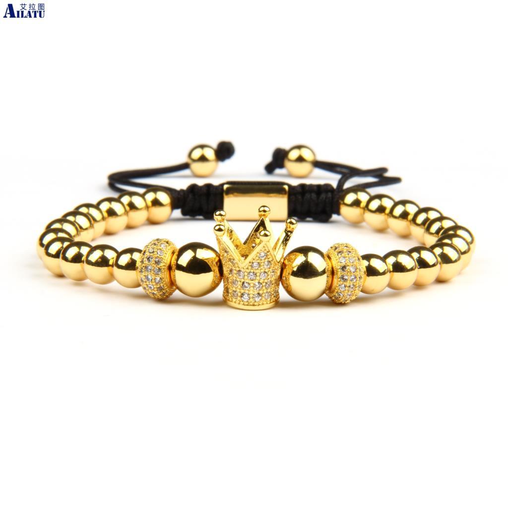 Ailatu New Luxury Clear Cz Cylinders Crown Braiding Bracelets Top Quality