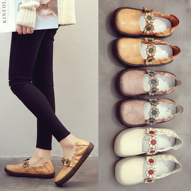 women 2018 spring autumn genuine leather flat heel shoes female espadrilles moccasins flower loafers big plus 41 42 43 size aiyuqi 2018 spring new women s genuine leather shoes waterproof platform sexy plus size 41 42 43 fashion heel shoes female
