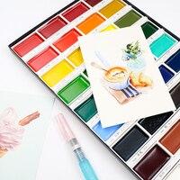 JIANWU KURETATE ZIG Портативный art solid Картина акварелью и набор красок 12/18/24/36 цветной эскиз порошок принадлежности для рисования