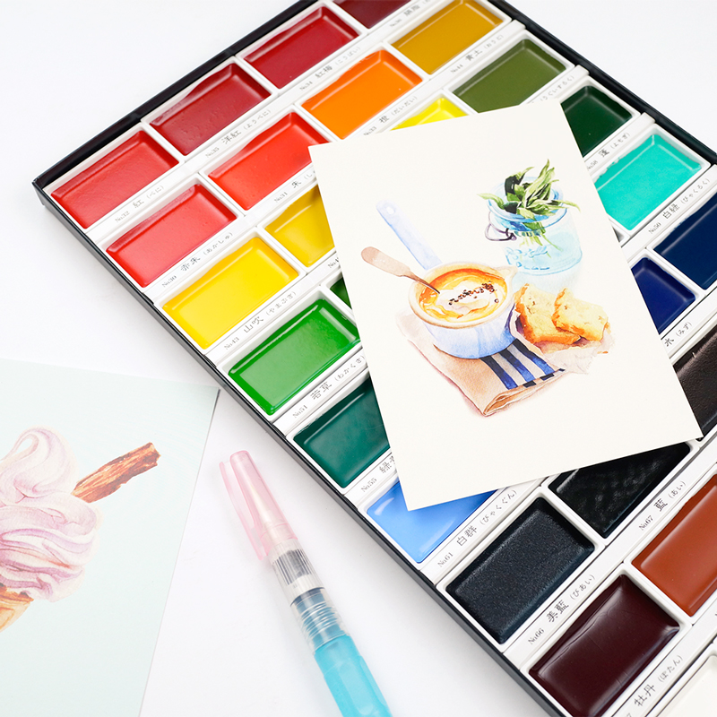 JIANWU KURETATE ZIG Portable art solid painting watercolor and pigment suit 12/18/24/36 color sketch Powder Drawing supplies van gogh 24 colors solid watercolor pigment with nature sponge and paintbrush plastic case water color paint art supplies