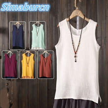 hot deal buy 2018 casual style women summer cotton linen tops tees femme tank tops fashion solid color sleeveless loose ladies clothes