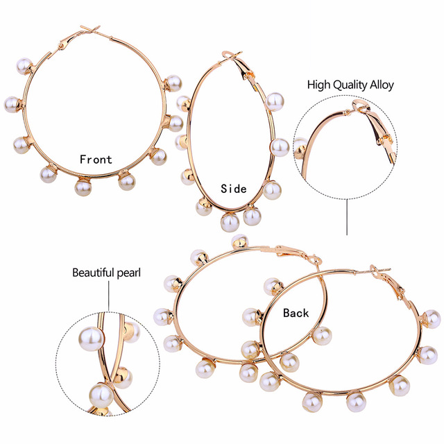 Neylanly 2020 большие круглые серьги имитация жемчужной сережки