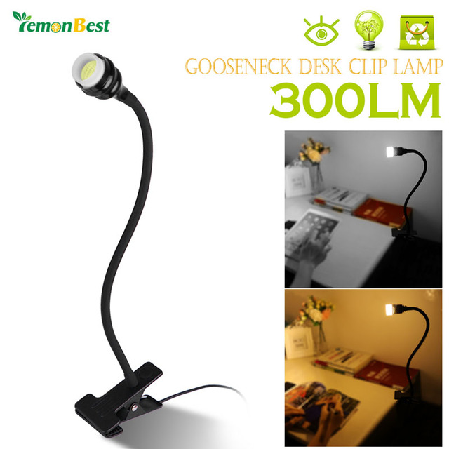 Modern Style Flexible Gooseneck 3W COB LED Desk Clip Lamp Table Light  Bedside Reading Lamp With