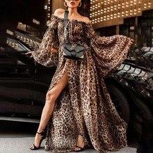 3c91af5cd24 Women Autumn Long Sleeve Leopard Print Dress Casual Off Shoulder Elegant  Party Dress Plus Size Sexy