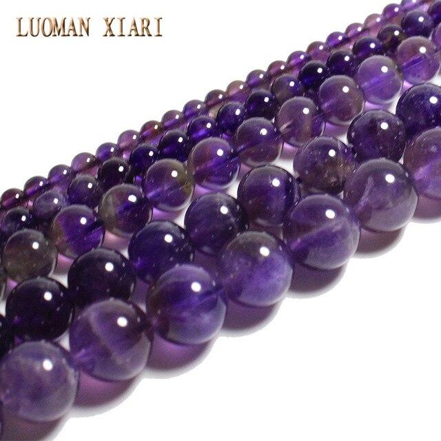 LUOMAN XIARI AAA + ronde améthyste naturelle perles de pierre pour la fabrication de bijoux bracelet à bricoler soi-même collier cheville 4/6/8/10/12mm brin 15''