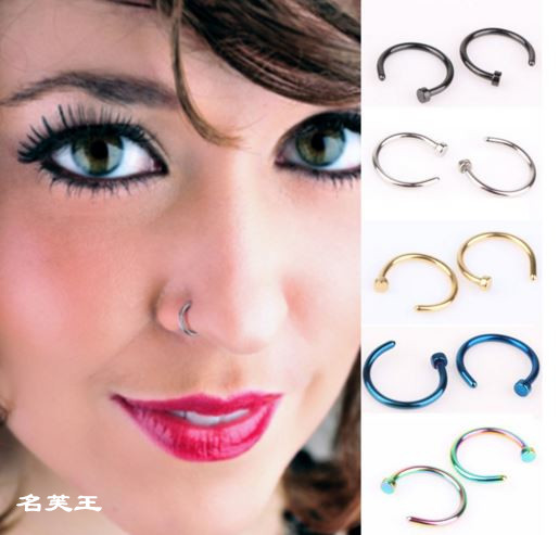 5pcs Surgical Steel Nose Piercing Ring Pircing Women Jewelry Clip